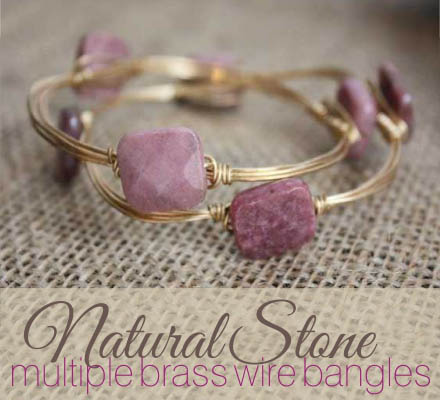 natural stone brass wire bangles