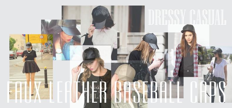 faux leather baseball caps